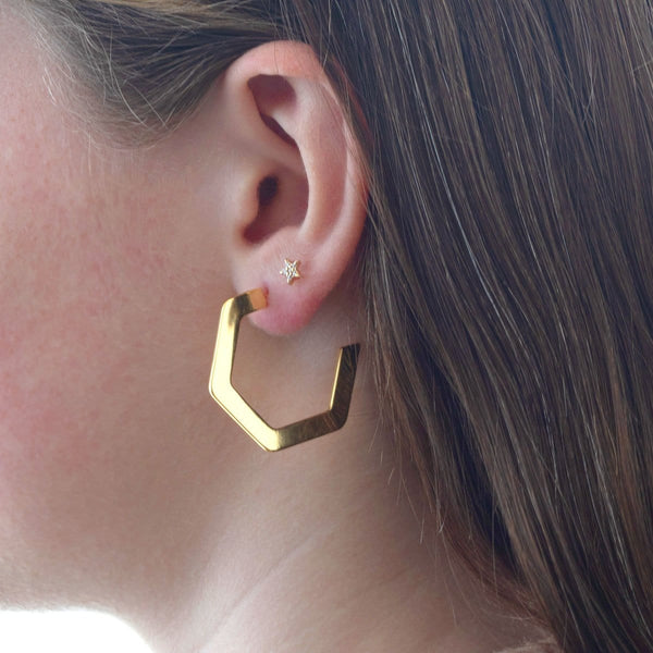 Hexagon Hoop Earrings Medium