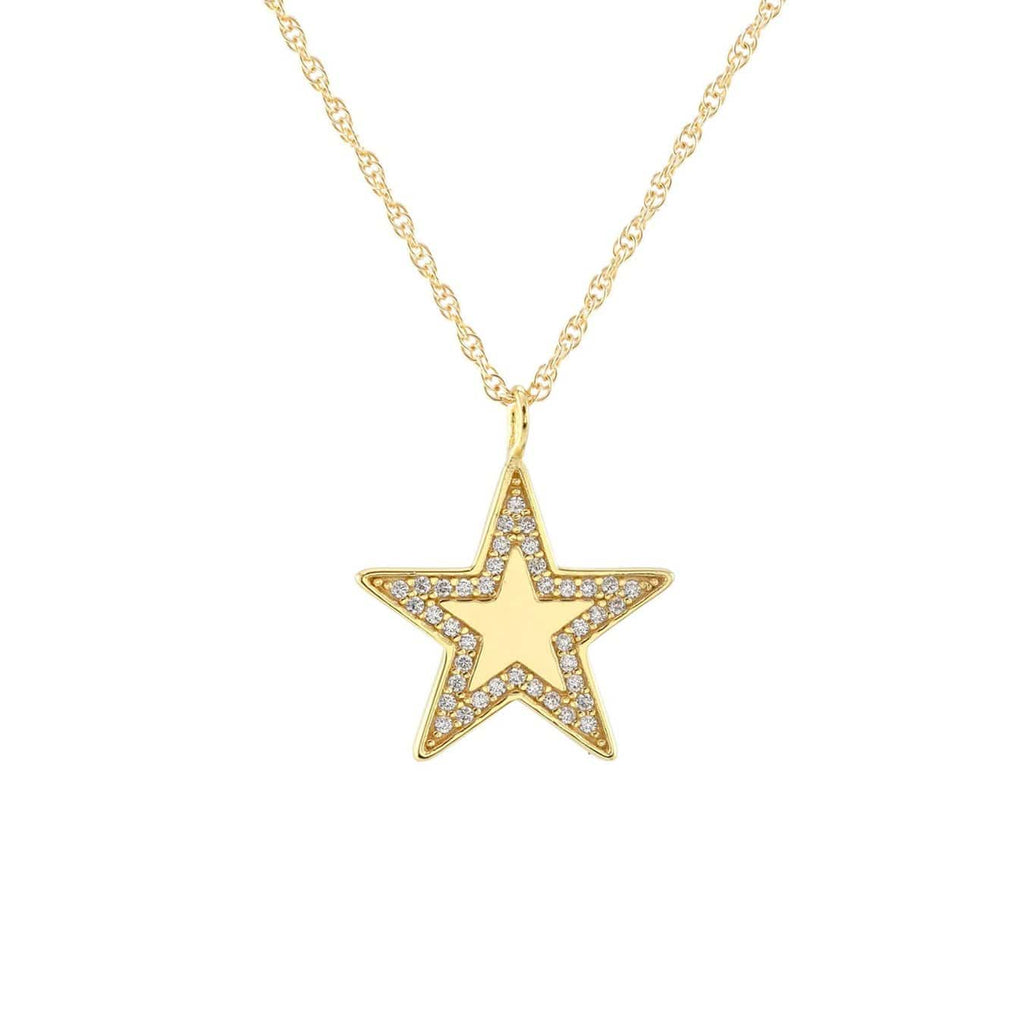 Medium Star Charm Necklace with Pave
