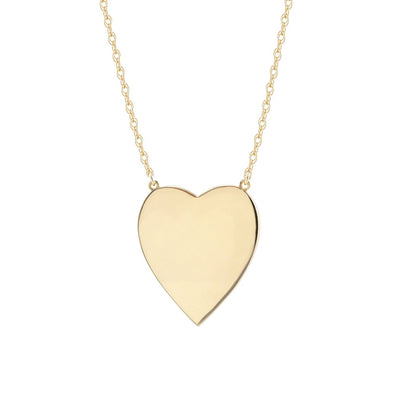 Large Heart Pendant on Rope Chain 18K Gold Vermeil