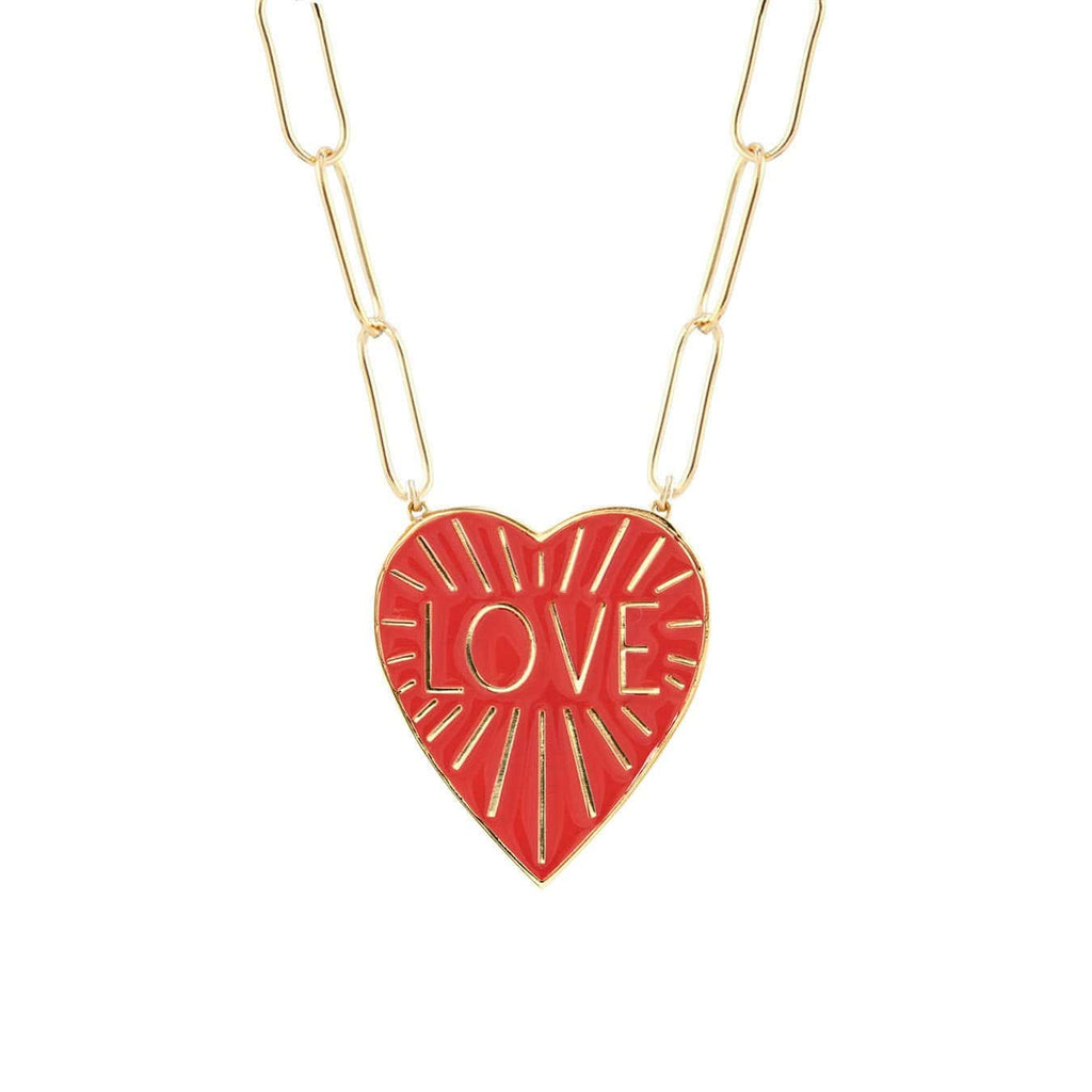 Love Heart Enamel Pendant on Large Link Chain