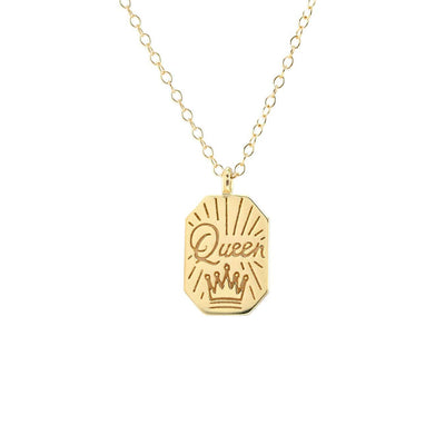 Queen Dog Tag Charm Necklace 18K Gold Vermeil