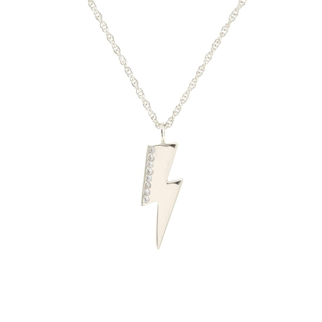 Medium Lightning Bolt Charm Necklace with Pave