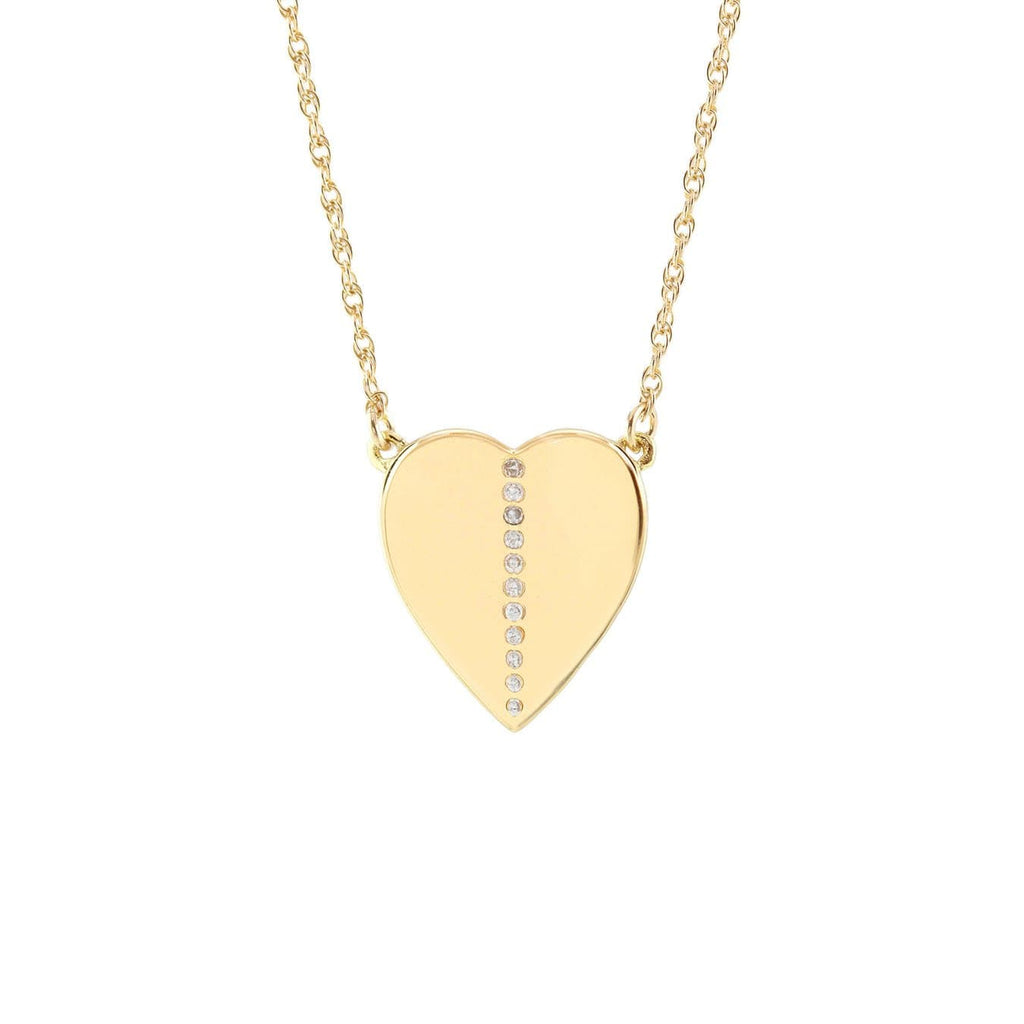 Medium Heart Charm Necklace with Pave