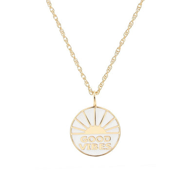 Good Vibes Enamel Charm Necklace with Large Rope Chain 18K Gold Vermeil