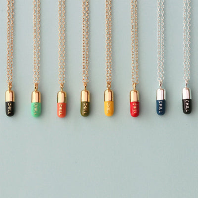 Chill Pill Enamel Necklace
