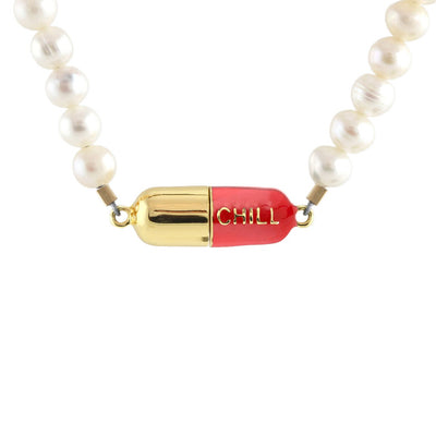 Big Chill Pill Pearl Necklace 18K Gold Vermeil / Red