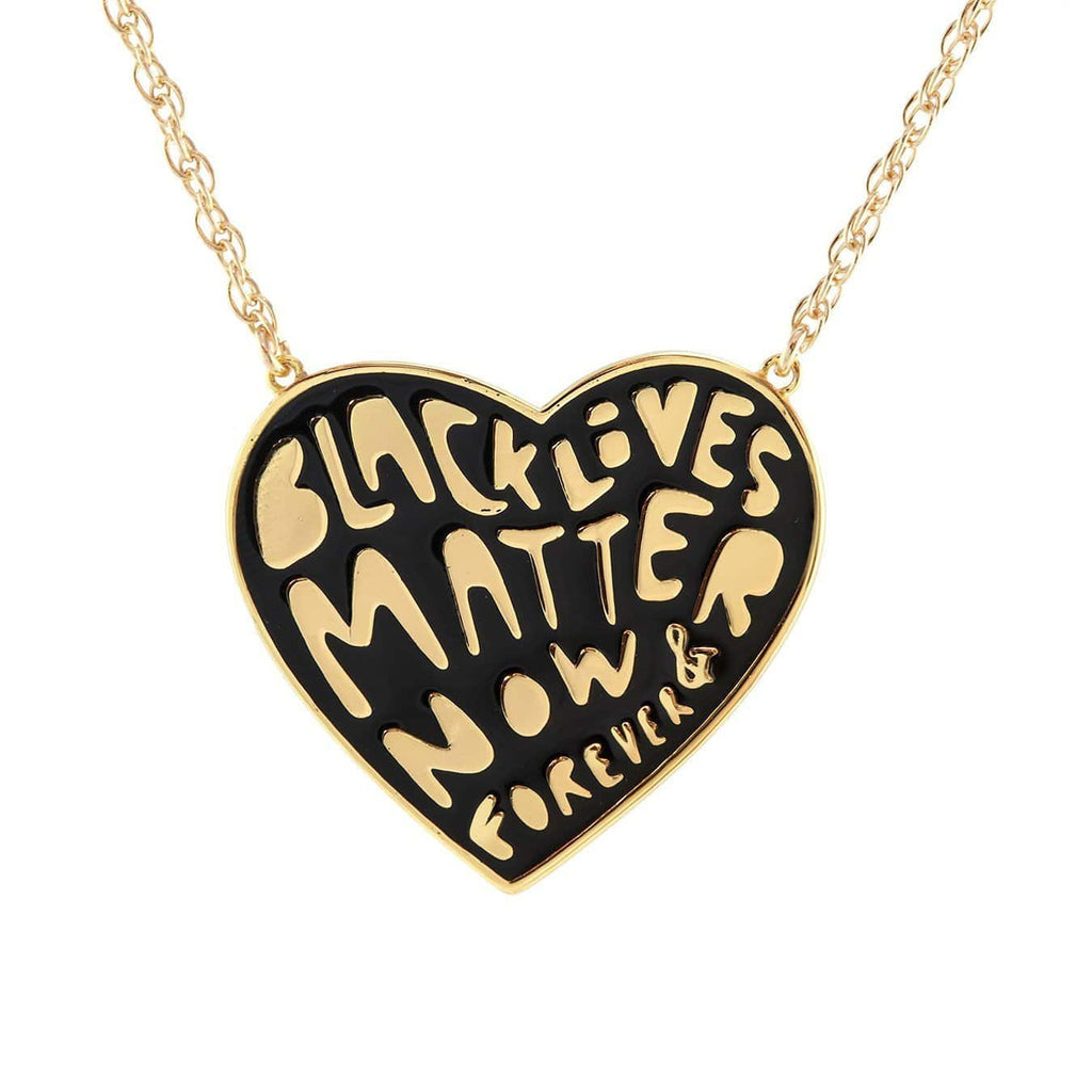 Black Lives Matter Now & Forever Enamel Pendant Necklace