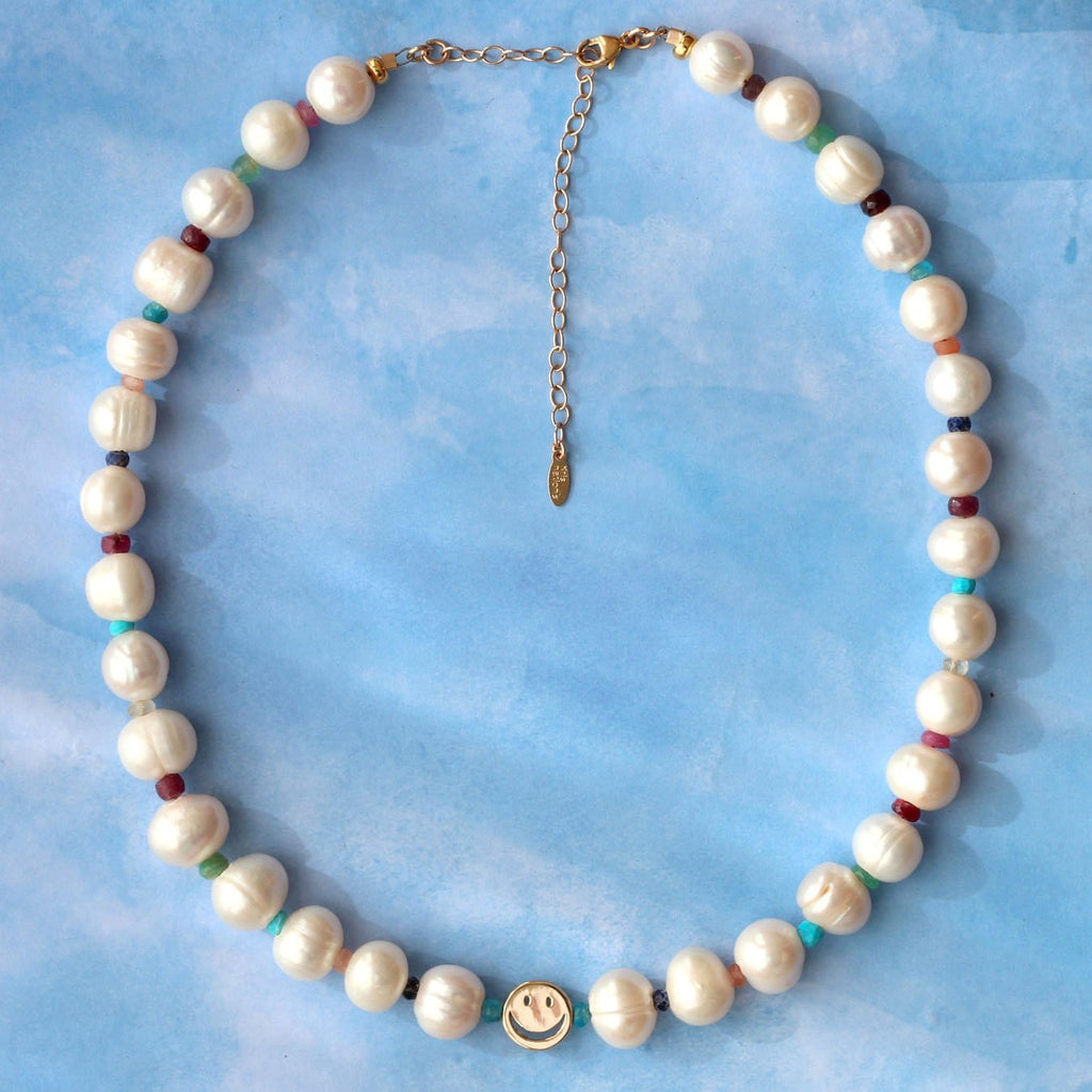 Freshwater Pearl & Gemstone Happy Beaded Necklace