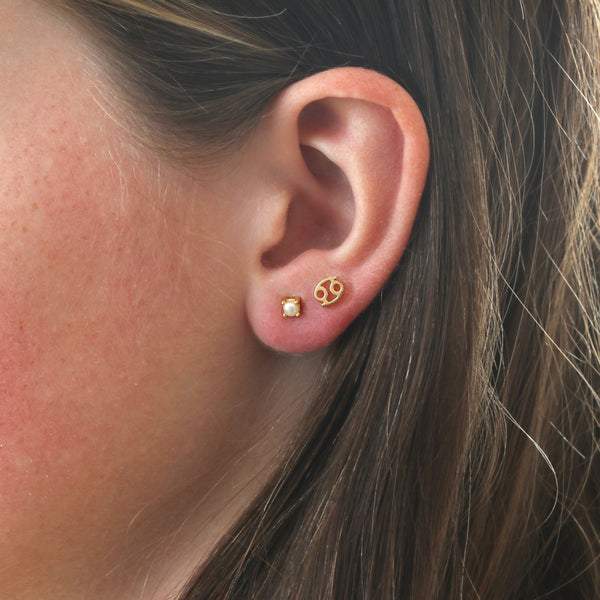 Custom Birthstone and Zodiac Stud Earring Combo