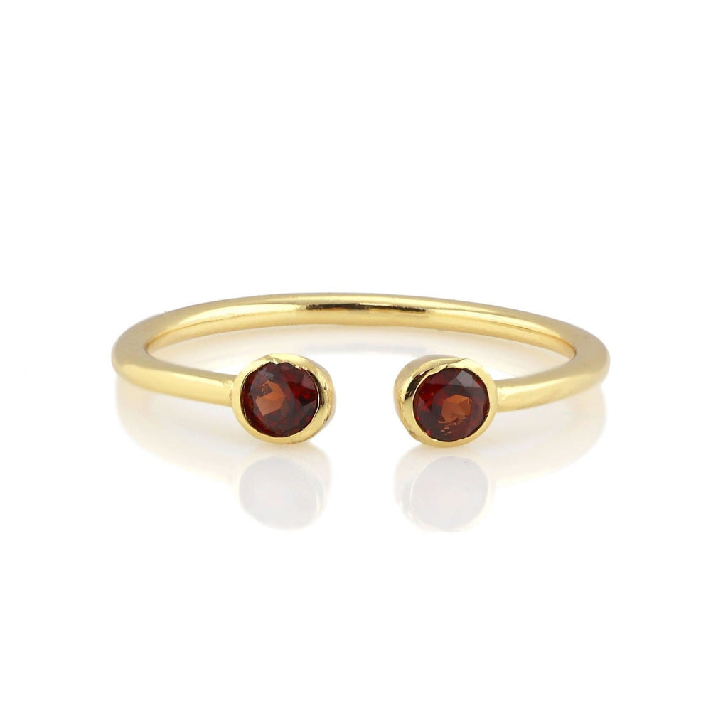 Double Gemstone Ring - Garnet