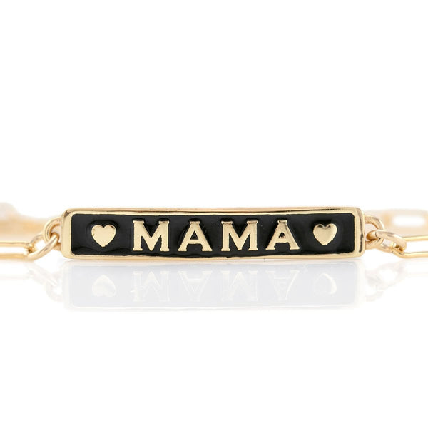 Mama Enamel Bar Bracelet with Drawn Cable Chain