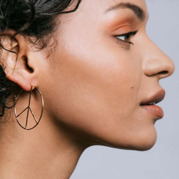 Peace Sign Hoop Earrings