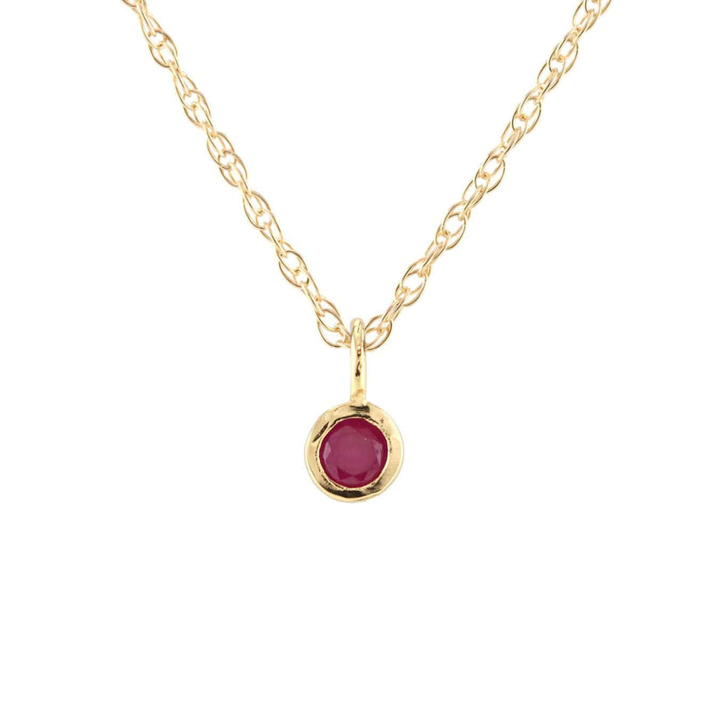 Ruby Gemstone Charm Necklace - July Birthstone