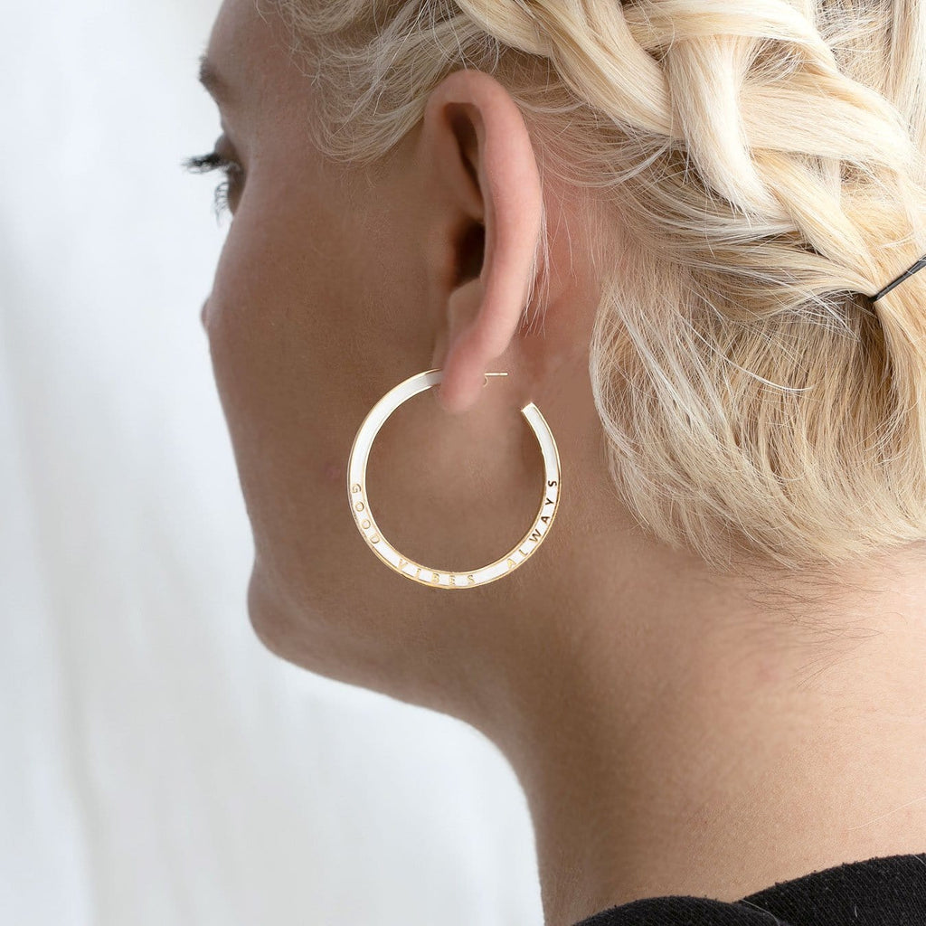 Good Vibes Always Enamel Hoop Earrings