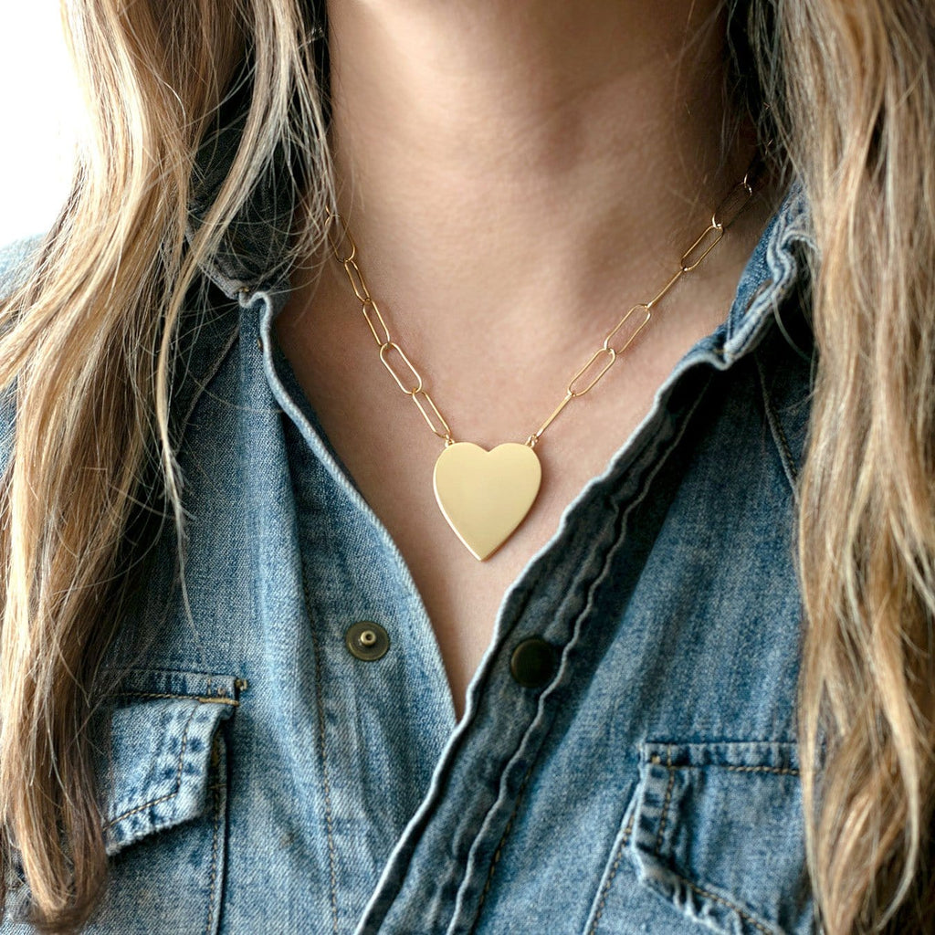 Large Heart Pendant on Large Link Chain