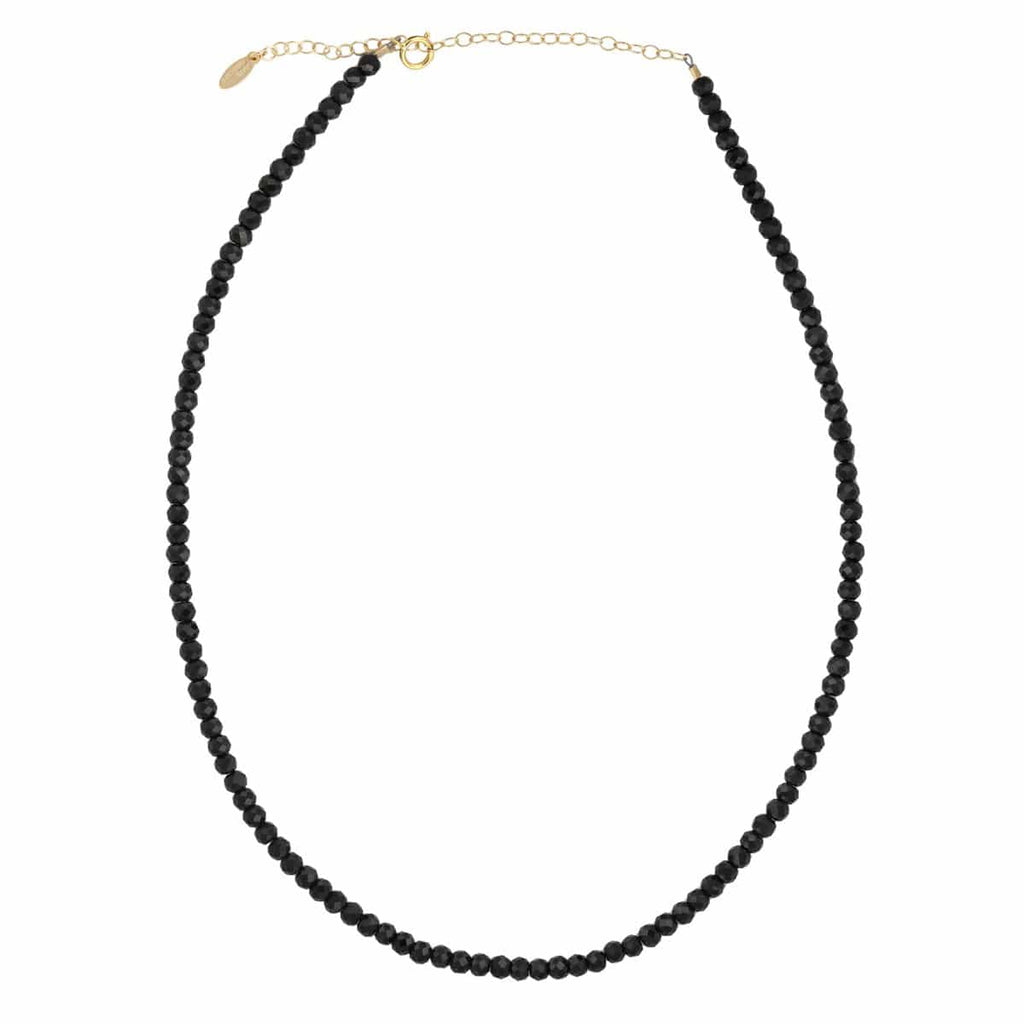 Black Spinel Faceted Gemstone Beaded Necklace