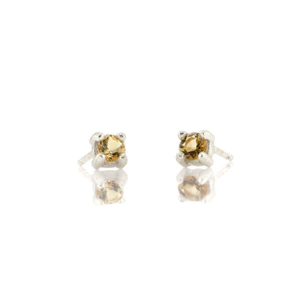 Citrine Prong Set Gemstone Stud Earrings - November Birthstone