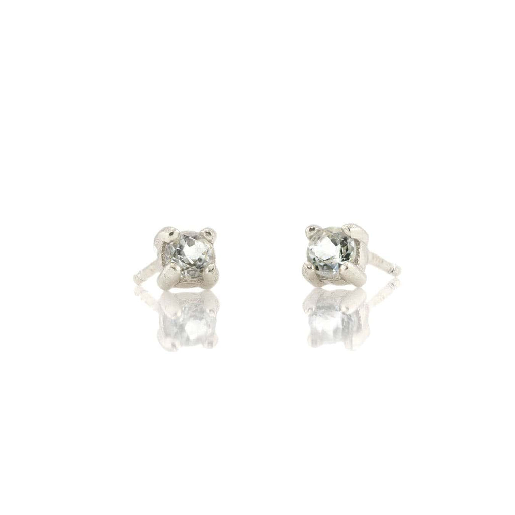 White Topaz Prong Set Gemstone Stud Earrings - April Birthstone