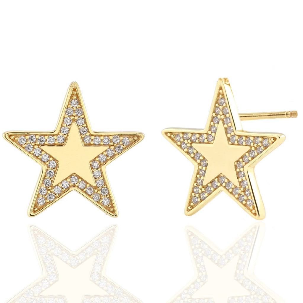 Oversized Star Stud Earrings with Pave