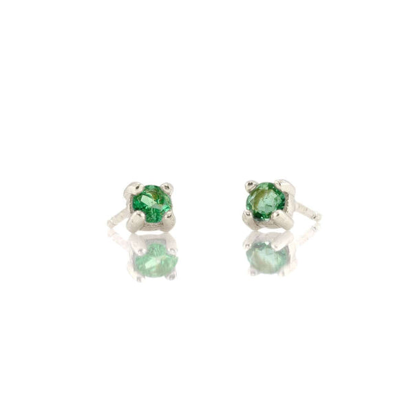 Prong Set Gemstone Stud Earrings - Emerald