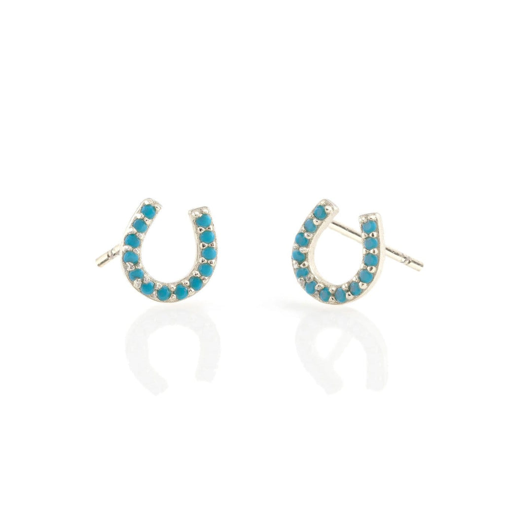 Horseshoe Turquoise Stud Earrings