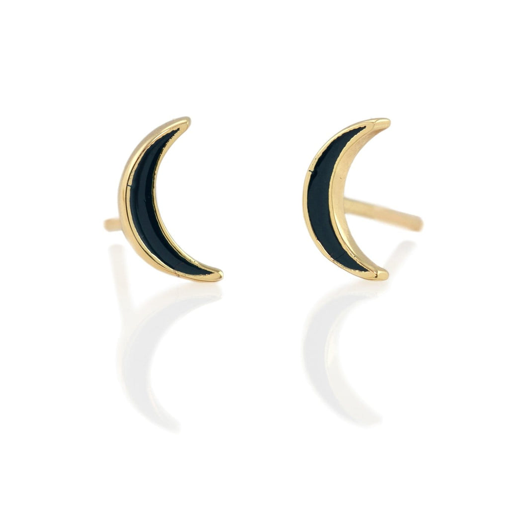 Crescent Moon Enamel Stud Earrings