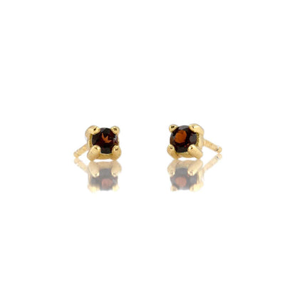 Garnet Prong Set Gemstone Stud Earrings - January Birthstone 18K Gold Vermeil