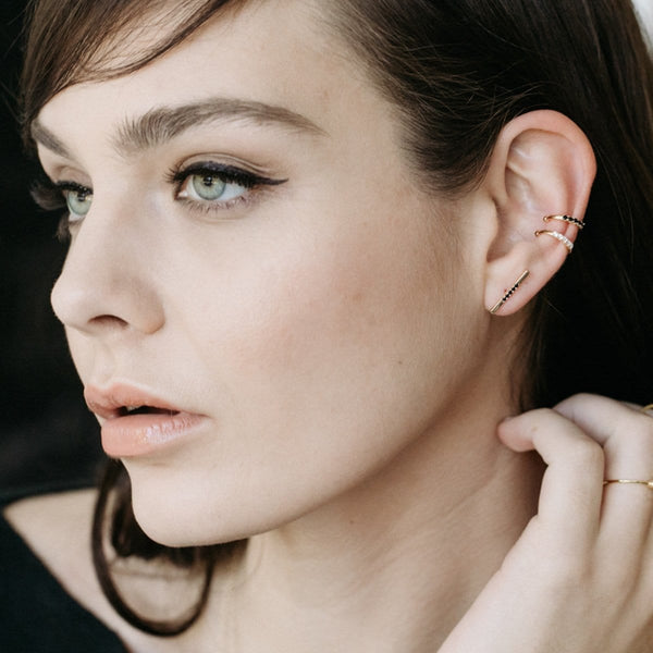 Long Pave Bar Stud Earrings