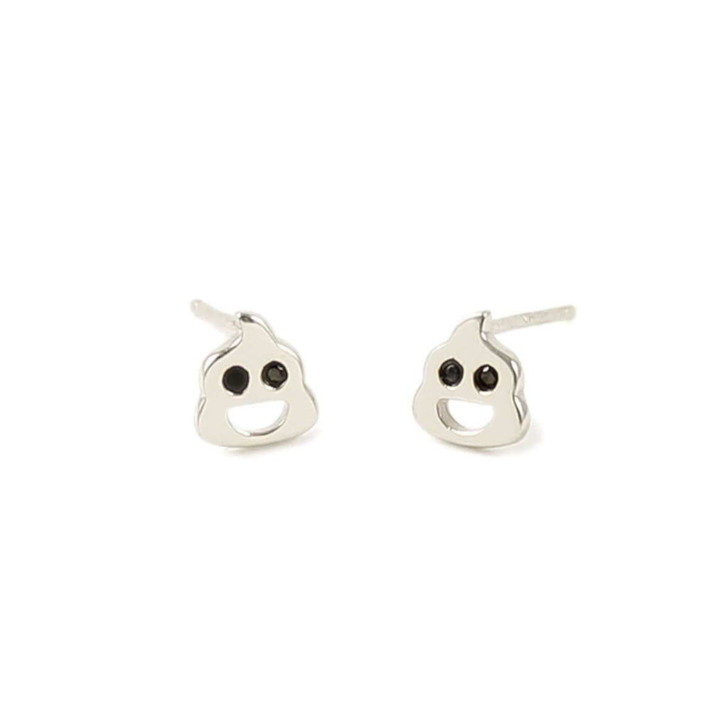 Poop Stud Earrings with Stone