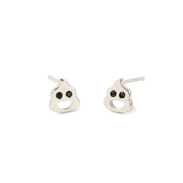 Poop Stud Earrings with Stone Eyes