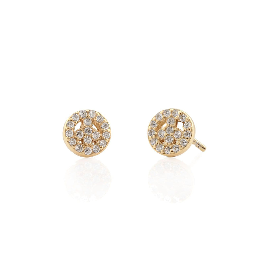Peace Sign Pave Stud Earrings