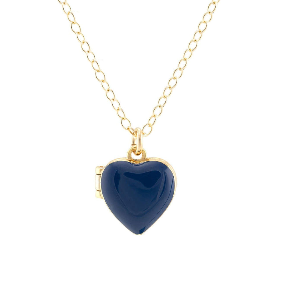 Heart Locket in gold vermeil and cobalt blue enamel