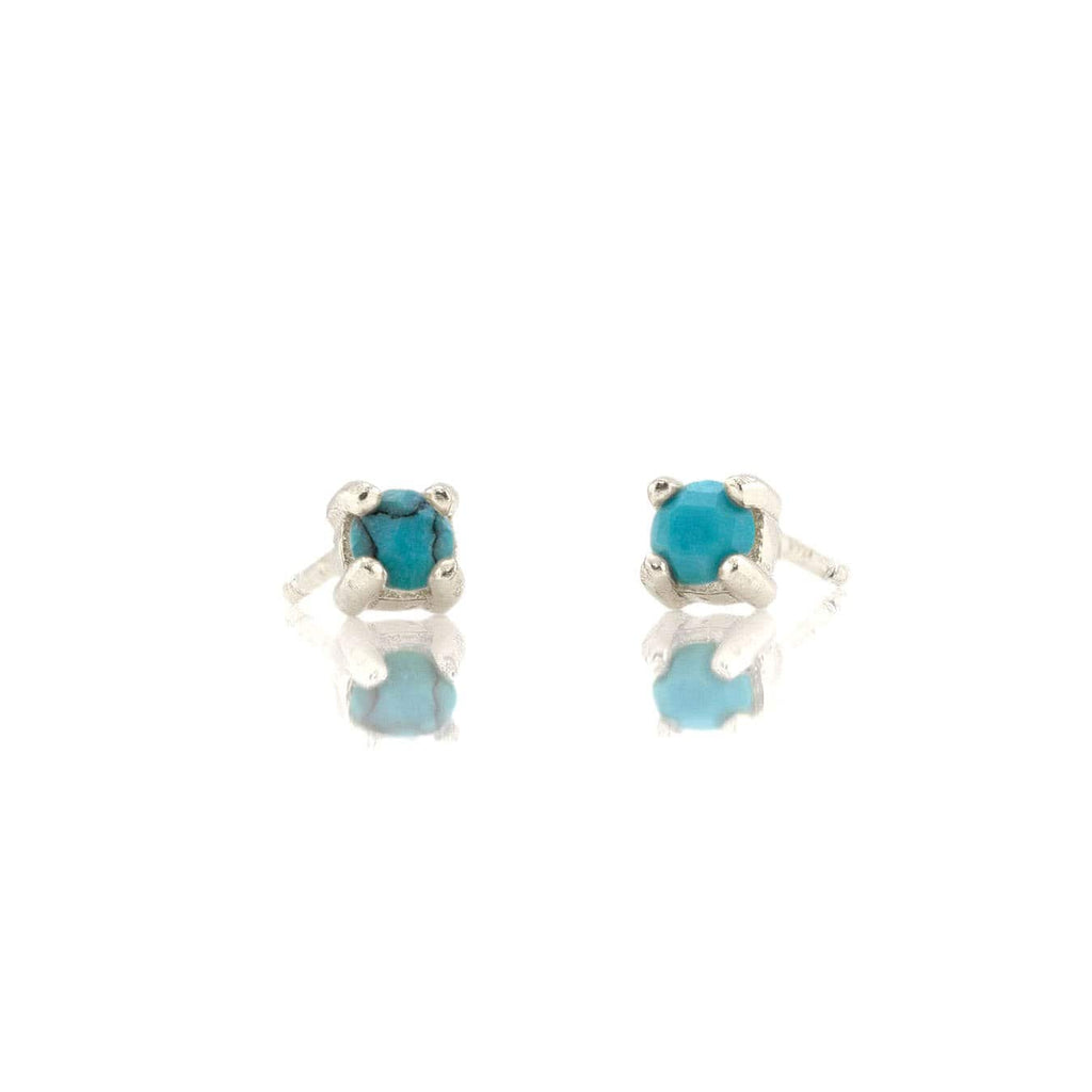Turquoise Prong Set Gemstone Stud Earrings - December Birthstone