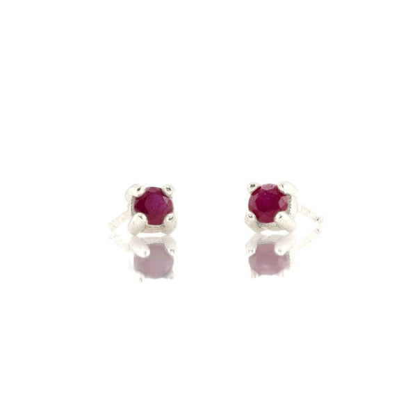 Prong Set Gemstone Stud Earrings - Ruby