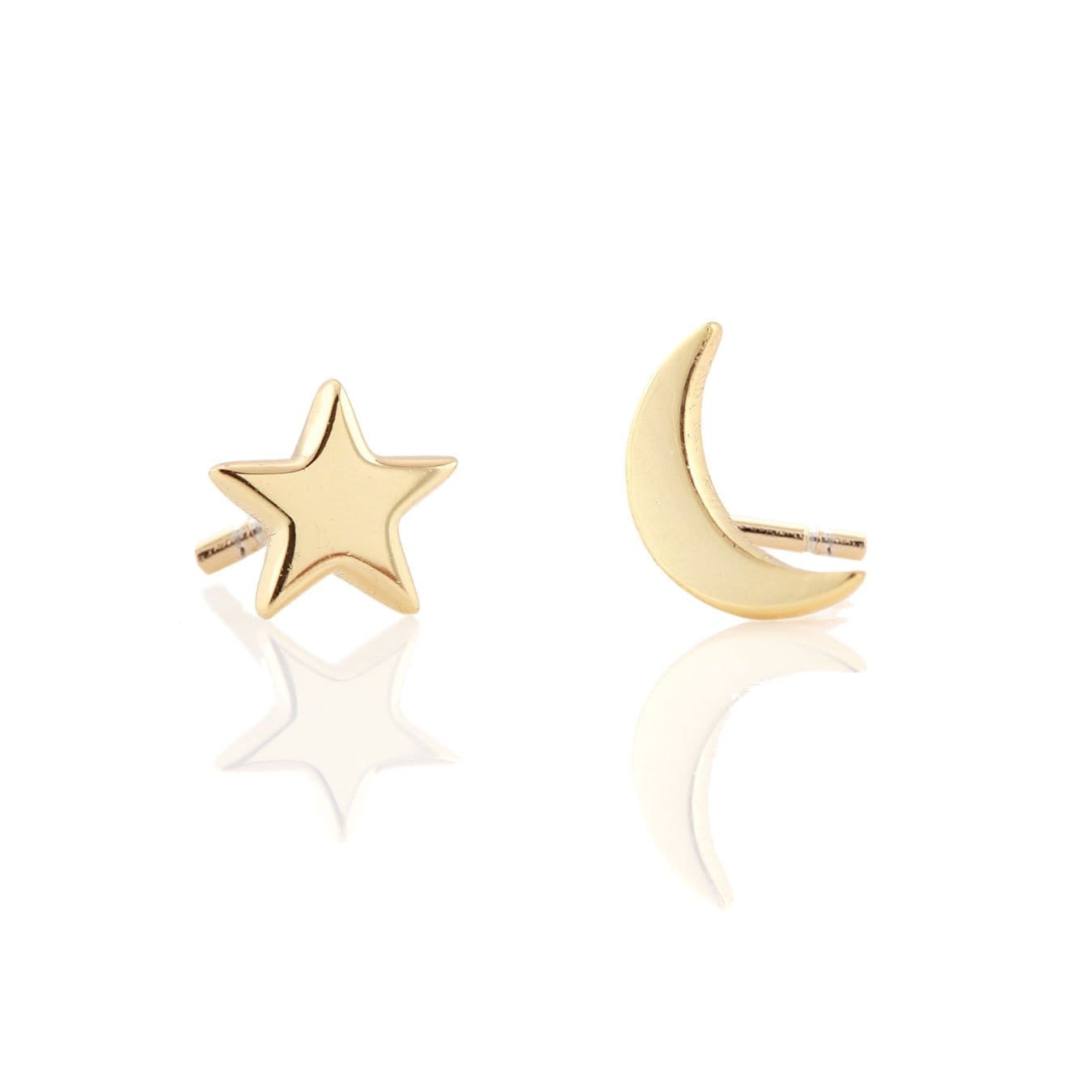 Crescent Moon And Star Stud Earrings Gold Silver