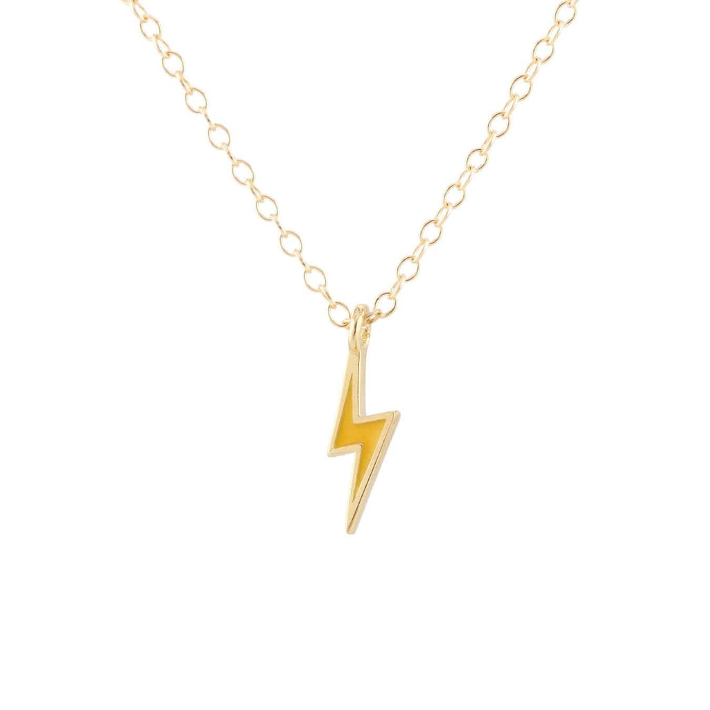 Lightning Bolt Enamel Charm Necklace