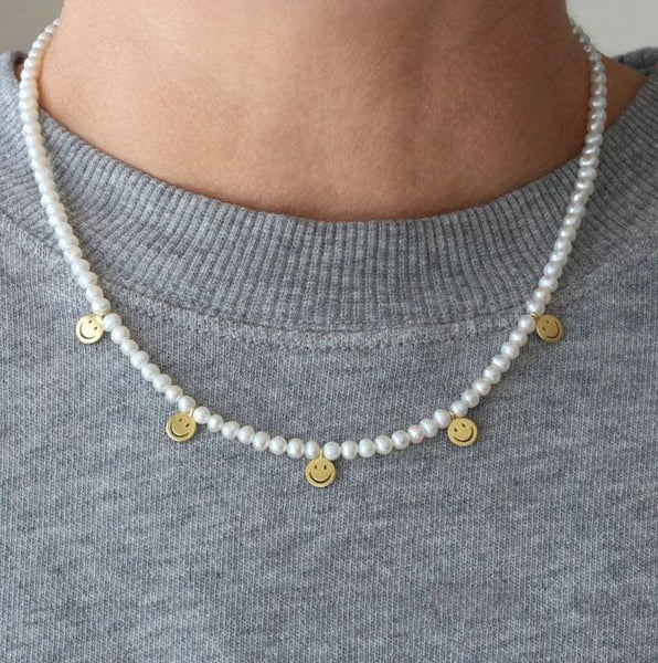 Petite Pearl Smiley Beaded Necklace
