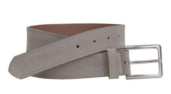 J&M 1850 Gray Italian Leather Double Stitch Belt