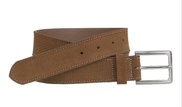 J&M 1850 Light Brown Italian Leather Double Stitch Belt