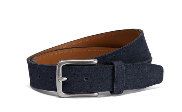 Trask Navy English Suede Sutton Belt