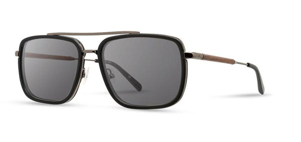 Shwood Matte Black Walnut Grant Acetate Sunglasses