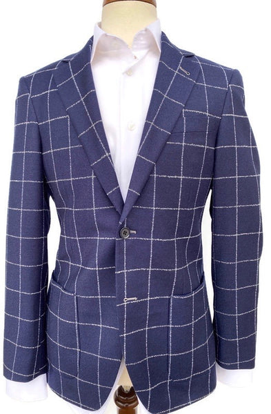 S.Cohen Navy Chalk Windowpane Sport Coat