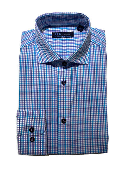 Blu Multi Check Dress Shirt