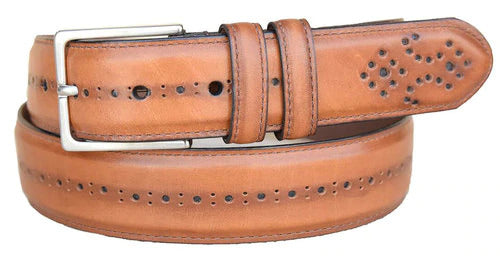 Lejon Chancellor Cognac Full Grain Aniline Steer Hide Leather Belt