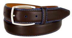 Lejon Novara Blue Stitch Brown Glove Leather Belt
