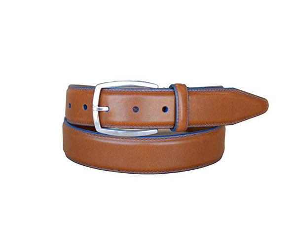Lejon Novara Blue Stitch Cognac Glove Leather Belt