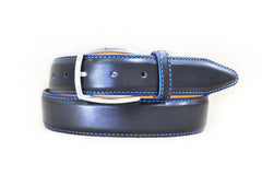 Lejon Novara Blue Stitch Black Glove Leather Belt