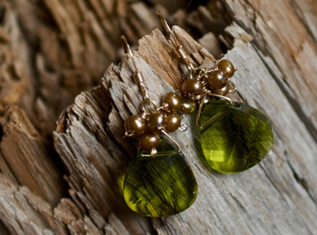 Elaine Earrings - Olive
