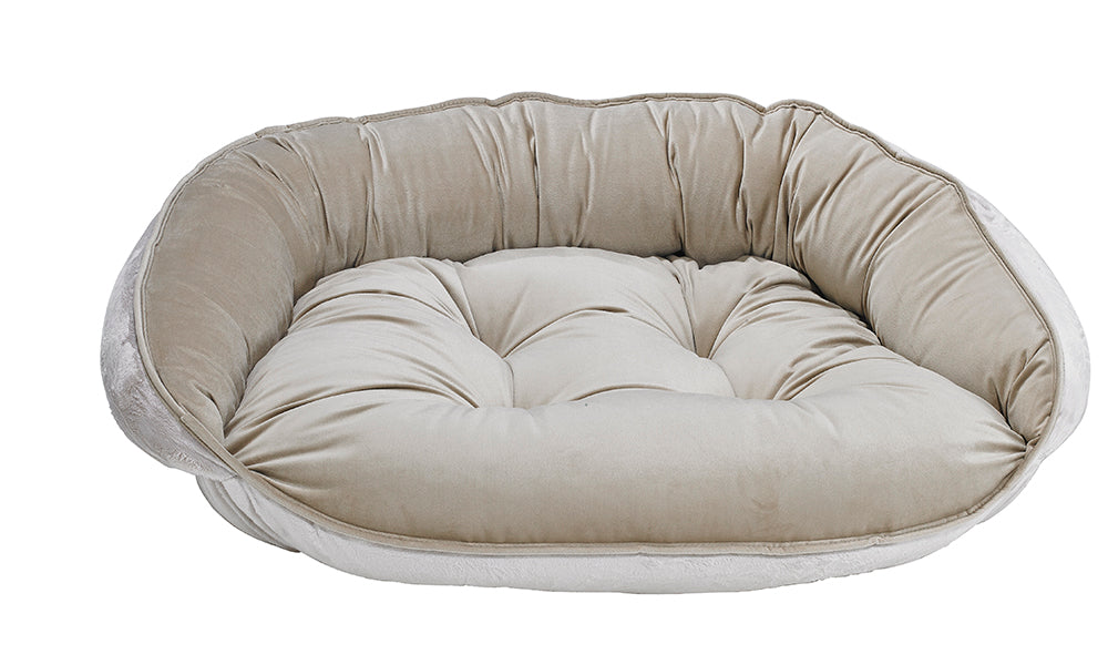 Almond Microvelvet Crescent Bed