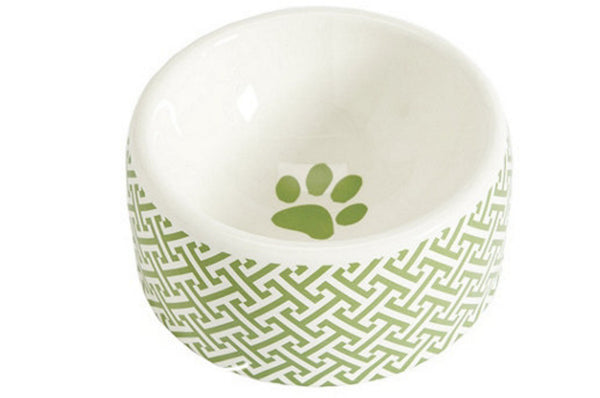 Greek Key Dog Food Bowl
